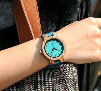 Schöne Damen Armbanduhr aus Holz und Leder