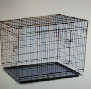 Paw Hut Large 42 inch Two Door Folding Metal Dog Crate l