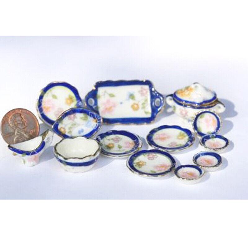 Dollhouse Miniature *SALE* Blue and Gold Floral Ceramic Dinner Set