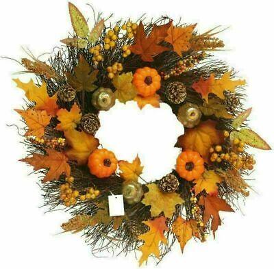 Garland Front Door Thanksgiving Decor Artificial Fall Wreath Maple Leaf Pumpkin