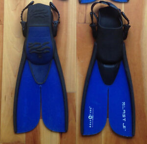 Youth Climbing shoes, diving fins and Baseball gloves