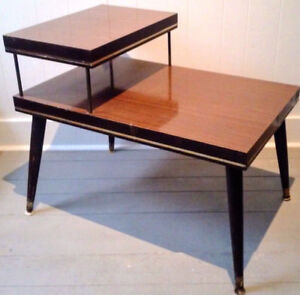 XL Coffee Side Table SPACE AGE Wood Brass Antique FREE DELIVERY