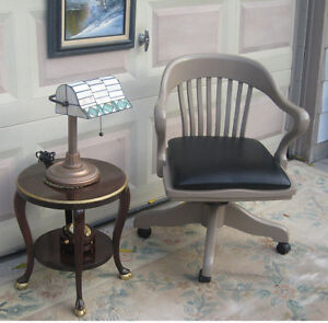 Antique Bankers Chair (Leather Seat)