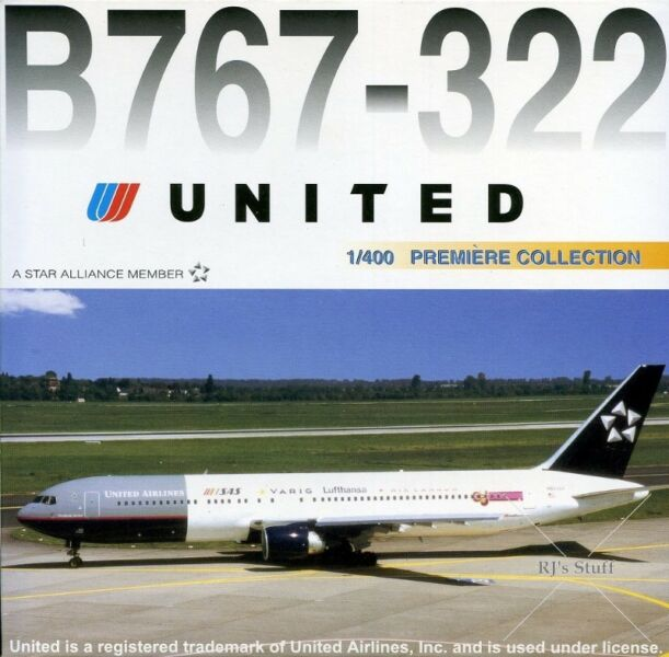 "RARE UNITED Boeing 767-322 ""A STAR ALLIANCE MEMBER"" 1:400 Scale Model Aircraft #55436 - Dragon Wings"
