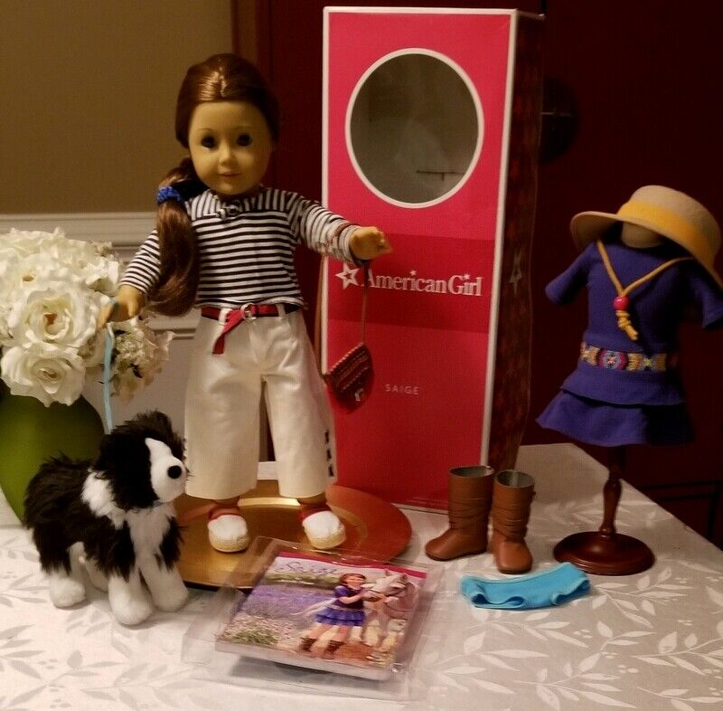 American Girl Saige Doll Lot Beach Outfit Parade Hat Meet Purse Dog Rembrandt  - $179.95