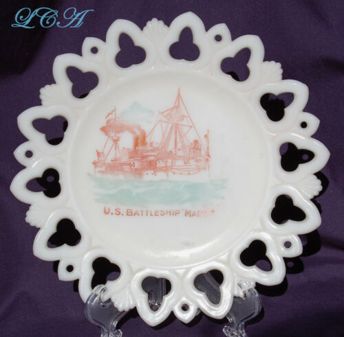 Rare Antique plate U. S. BATTLESHIP MAINE milk-glass souvenir w/pic of SHIP