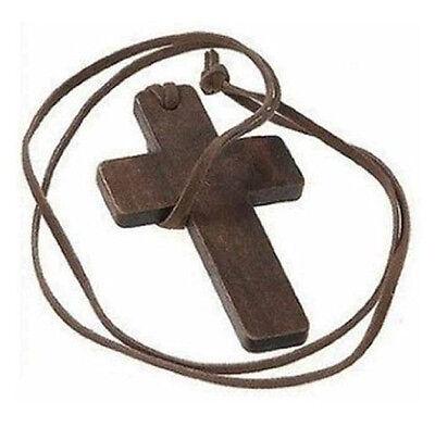 2X Retro Men Women Brown Cross Pendant Christian Religious Wooden Wood Necklace&