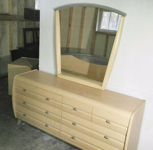 Dresser, mirror, headboard and 2 bedside tables for sale