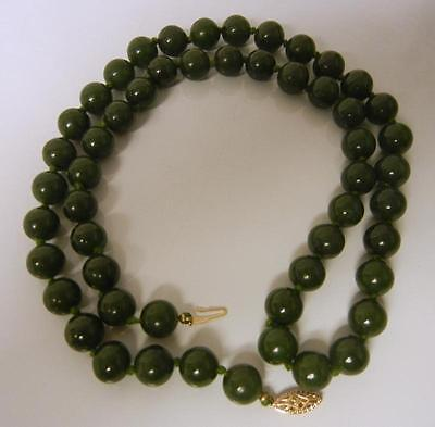 Antique 14k Gold  A Grade FINE Chinese Jade Bead Necklace