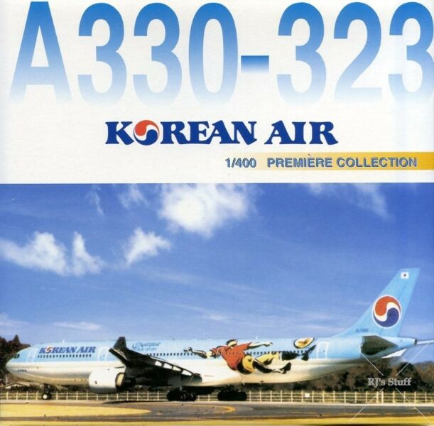"""RARE KOREAN AIR """"World Cup 2002"""" AIRBUS A330-323 1:400 Scale Model Aircraft #55424 from Dragon Wings"""