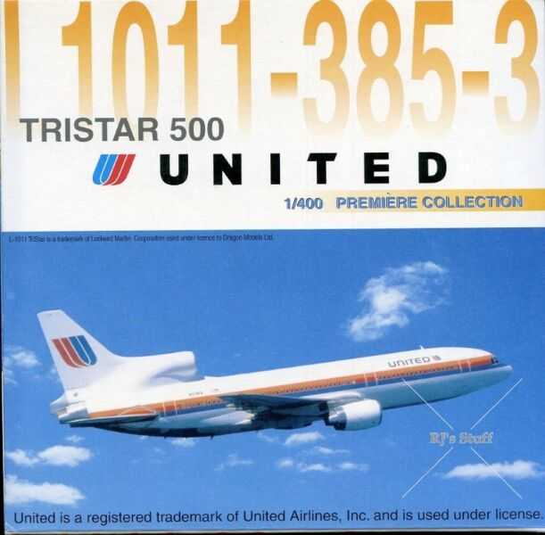 RARE UNITED AIRLINES Lockheed Tristar 500 L1011-385-3 1:400 model Vintage Livery #55121 Dragon Wings