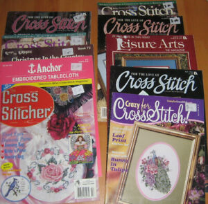 box of 61 cross stitch magazines, booklets and books.