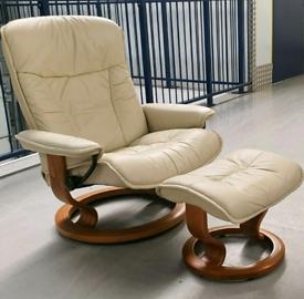 Ekornes Stressless Cream Swivel recliner leather chair & stool 136201