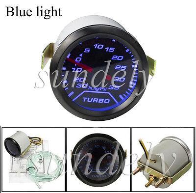 Universal 52mm 2″ Blue LED Car Turbo Boost Pressure Gauge Meter Smoked 0 - 35Psi