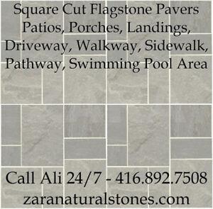 Dove Gray  Square Cut Flagstone Indian Stone Patio Flagstone