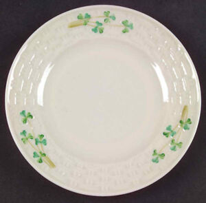 BELLEEK HARP SHAMROCK  7.5 inch side plate