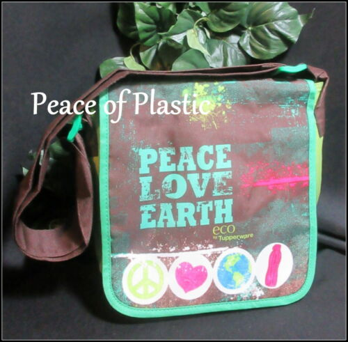 Tupperware New Lunch Bag Tote Insulated Adjustable Strap Peace Love Earth