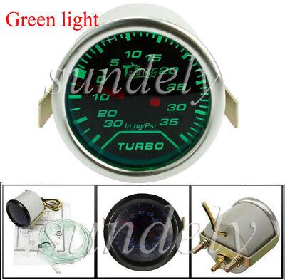 2'' 52mm Universal Auto Green LED Turbo Boost Gauge PSI Dials Vaccum Press Meter