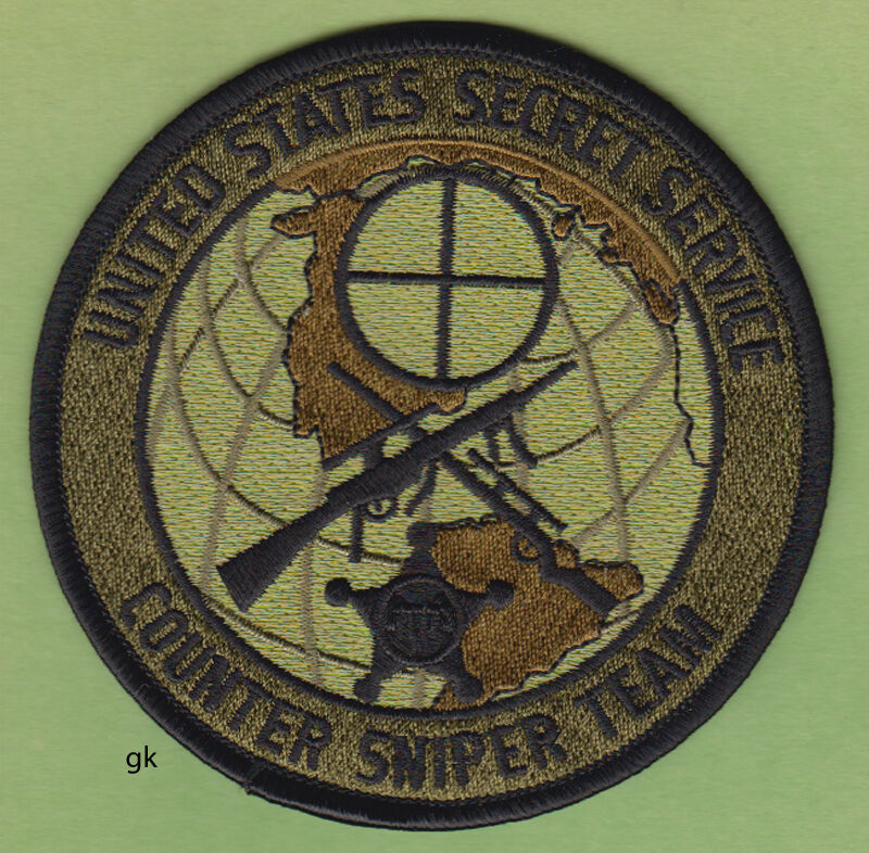 US SECRET SERVICE COUNTER SNIPER TEAM  POLICE SHOULDER PATCH   Subdued -Green