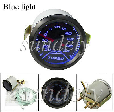 2'' 52mm Universal Auto Blue LED Turbo Boost Gauge PSI Dials Vaccum Press Meter