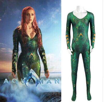 Aquaman Mera Wig Cosplay Costume Zentai Suit 3D Print Halloween Zentai New  (3d Printed Halloween Costume)