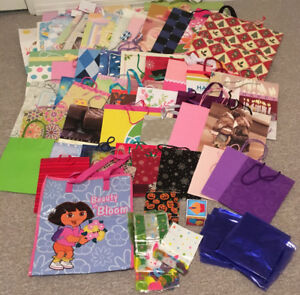 Assorted sizes & occasions of over 60 gift bags, treat bags