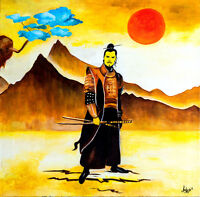 "Original Oil Painting ""Samurai - Soldier Man"""
