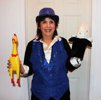 Female magician with cute bunny rabbit - birthday parties.