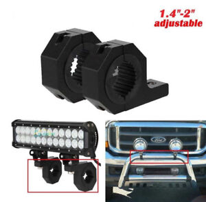 JEEP SUV Light Mount Bracket Clamp Roof Roll Cage Grill Bull Bar