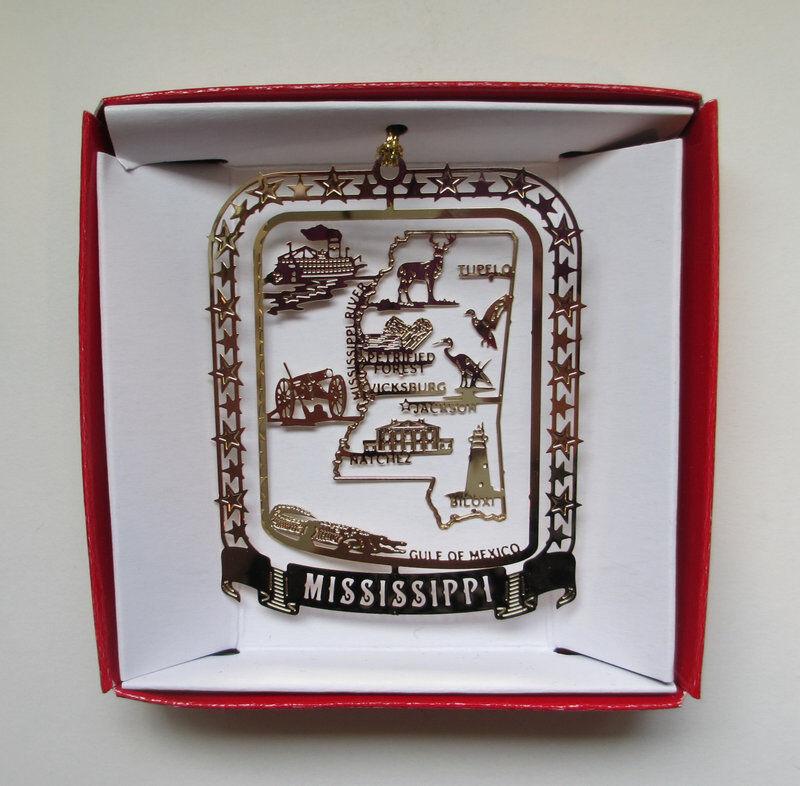 Mississippi Ornament Brass State Landmarks Travel Souvenir