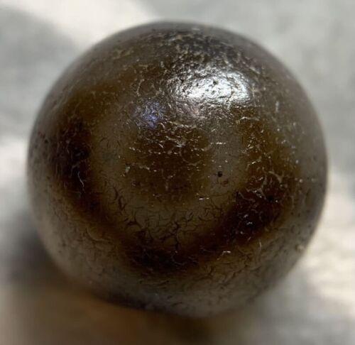 "Antique Old Agate Tibetan Dzi Bead "" 3 Eyes, EYES IN EYES "" Daluo Amulet Pendant"