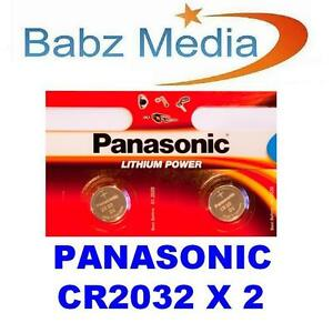 2 PANASONIC CR2032 2032 COIN CELL LITHIUM BATTERIES 3V