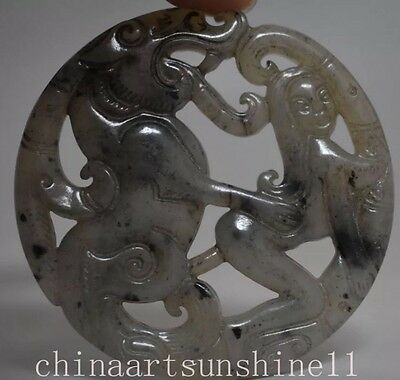 Antique Old Hand Carved Chinese Oriental Pendant Stone Jade Miao Beast Sex Woman