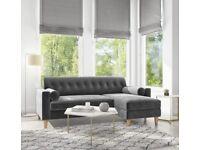 Grey Velvet Corner Sofa With Bolster Cushions - Seats 3 - Idris