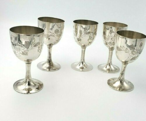 5 Sterling Silver Cordials Small Glasses Goblets Cups with Floral Design  10416