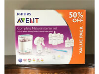 Avent complete natural starter set- extra tommee tippee bottles included- NEVER USED!