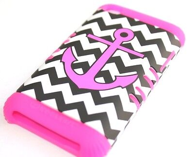 iPod Touch 4th Gen - HARD & SOFT RUBBER HYBRID CASE PINK BLACK CHEVRON ANCHOR Ipod Touch 4 Hybrid