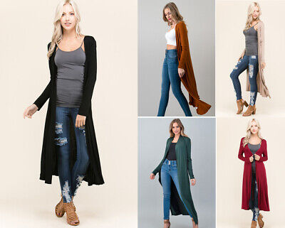 - S M L Women's Soft Knit Long Maxi Duster Cardigan Open Front Solid Colors Basic