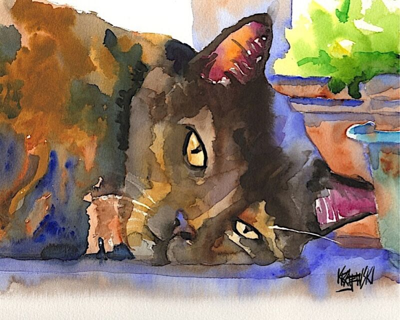 Tortie Cat 11x14 signed art PRINT from painting RJK