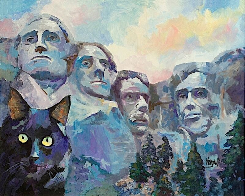 Black Cat at Mt. Rushmore Art Print from Painting | Black Cat Gifts, Decor 11x14
