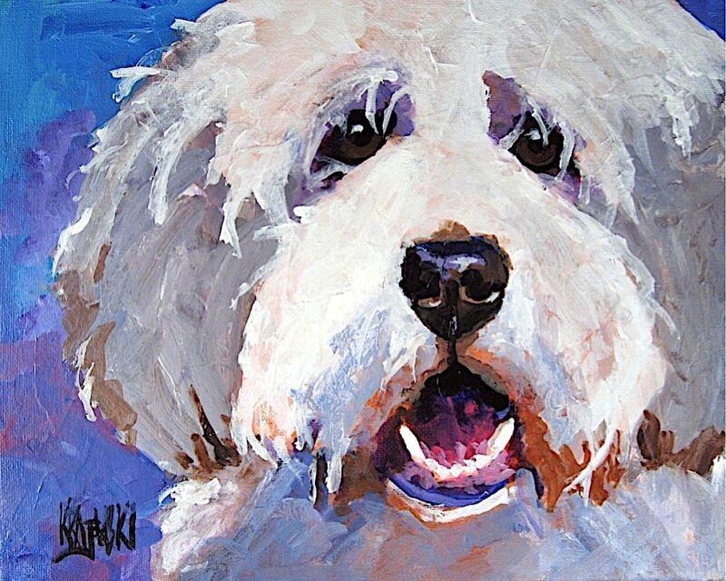Bearded Collie Dog 11x14 signed art PRINT RJK painting
