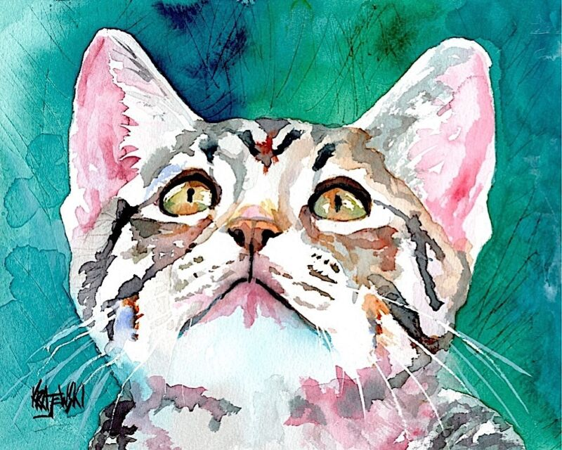 Tabby Cat Gifts | Kitten Art Print from Painting | Poster, Picture, Decor 11x14
