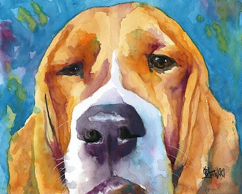 Basset Hound Dog 11x14 signed art PRINT RJK painting