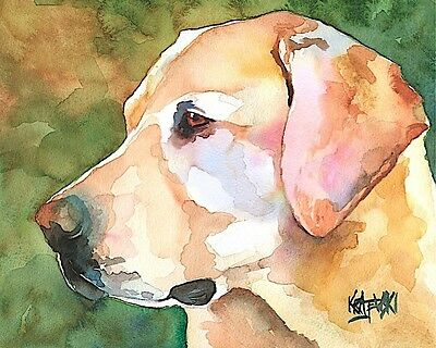 Labrador Retriever 11x14 signed art PRINT RJK painting Yellow -