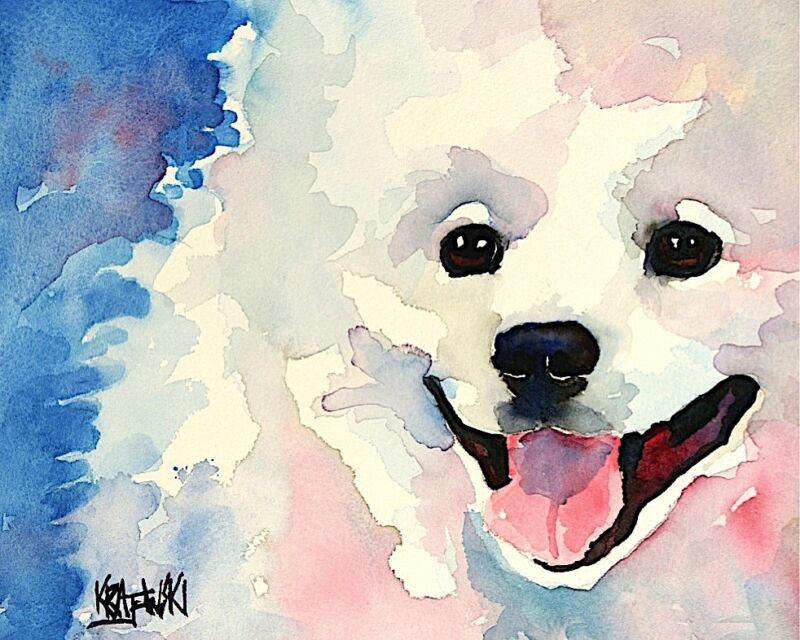American Eskimo Dog Art Print from Painting 8x10, Eskie Gifts, Poster, Picture