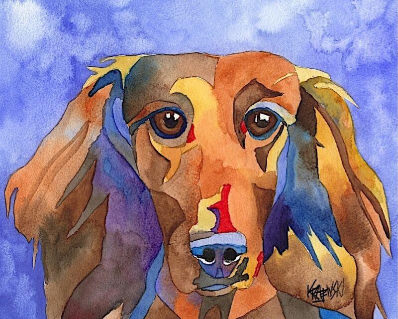 Dachshund Dog 8x10 Art PRINT Signed by Artist Ron Krajewski Painting