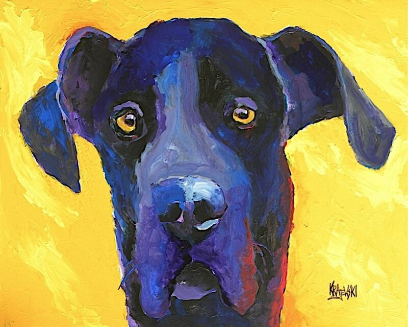 Great Dane Art Print From Painting | Black Dane Gifts, Picture, Wall Art, 8x10