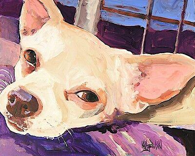 Chihuahua Dog 8x10 Art PRINT Signed by Artist Ron Krajewski (Chihuahua Dog Art)