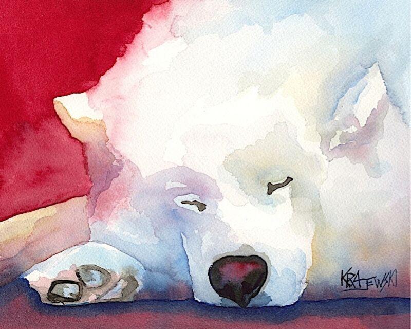 Samoyed Art Print Signed by Artist Ron Krajewski Painting 8x10