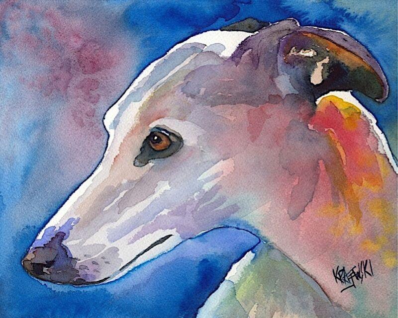 Whippet Dog 11x14 signed art PRINT painting RJK